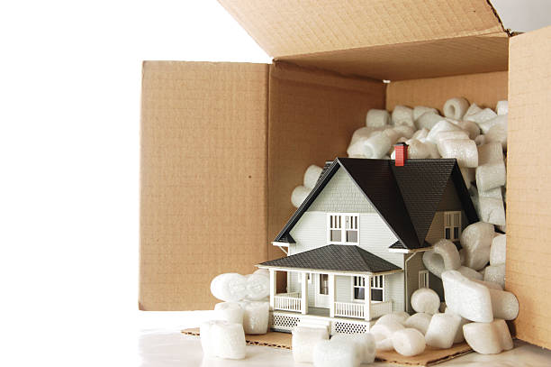 Small house shipped in a box with foam