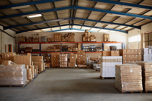 Warehouse at glass factory with products ready to be shipped